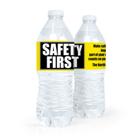 Personalized Safety First Water Bottle Sticker Labels (5 Labels)