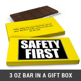 Deluxe Personalized Safety First Business Belgian Chocolate Bar in Gift Box (3oz Bar)