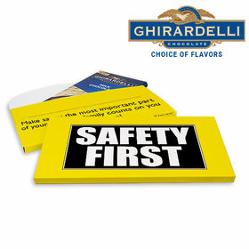 Deluxe Personalized Safety First Business Ghirardelli Peppermint Bark Bar in Gift Box (3.5oz)