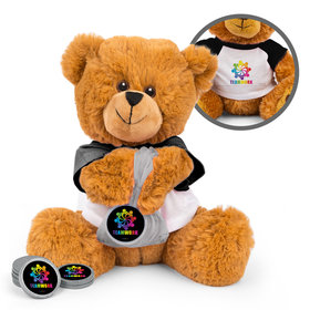 Personalized All Hands In Teamwork Teddy Bear with Chocolate Coins in XS Organza Bag
