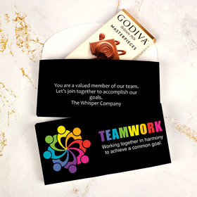Deluxe Personalized Business All Hands In Teamwork Godiva Chocolate Bar in Gift Box
