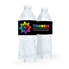 Personalized Teamwork All Hands In Water Bottle Sticker Labels (5 Labels)