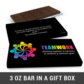 Deluxe Personalized All Hands In Business Belgian Chocolate Bar in Gift Box (3oz Bar)