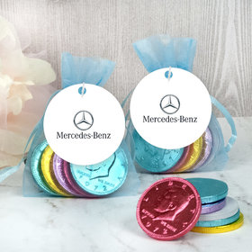 Personalized Add Your Logo Easter Chocolate Coins in XS Organza Bags with Gift Tag