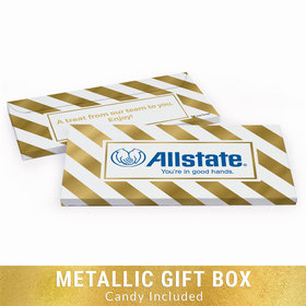 Deluxe Personalized Add Your Logo Stripes Chocolate Bar in Metallic Gift Box