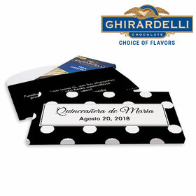 Deluxe Personalized Lunares Quinceañera Ghirardelli Chocolate Bar in Gift Box