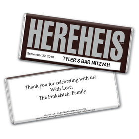 HEREHEIS Bar Mitzvah Personalized Hershey's Bar Assembled