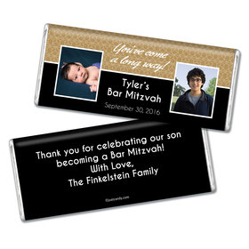 Bar & Bat Mitzvah Personalized Chocolate Bar Then & Now Photos
