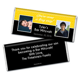 Bar Mitzvah Personalized Chocolate Bar Then & Now Photos