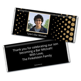 Bar Mitzvah Personalized Chocolate Bar Faded Dots