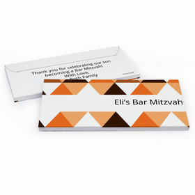 Deluxe Personalized Triangle Pattern Bar Mitzvah Chocolate Bar in Gift Box