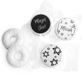 Personalized Bar Mitzvah Scroll & Stars Life Savers Mints