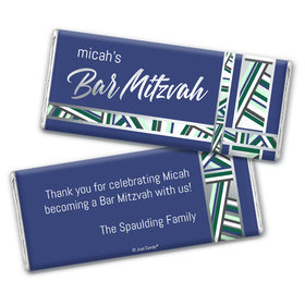 Personalized Bat Mitzvah Symbolic Stripes Chocolate Bar Wrappers