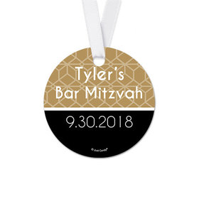 Personalized Pattern Bar Mitzvah Round Favor Gift Tags (20 Pack)