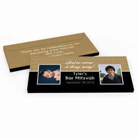Deluxe Personalized Then & Now Bar Mitzvah Chocolate Bar in Gift Box