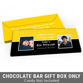 Deluxe Personalized Then & Now Bar Mitzvah Candy Bar Favor Box