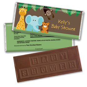 Jungle Buddies Personalized Baby Shower Embossed Chocolate Bar Assembled