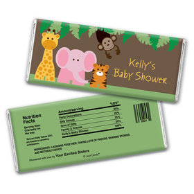 Personalized Baby Shower Jungle Buddies Hershey's Bar Assembled