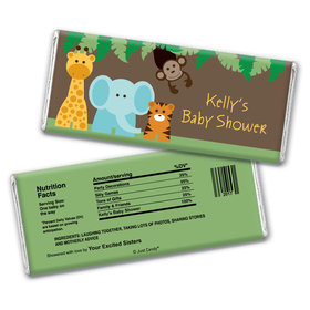 Personalized Baby Shower Jungle Buddies Candy Bar Wrapper Only