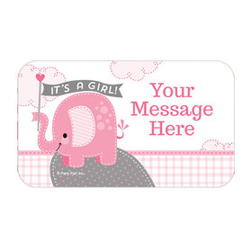 Umbrellaphants Pink Girl Personalized Rectangular Stickers (18 Stickers)