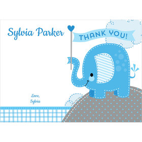 Umbrellaphants Blue Boy Personalized Thank You Note