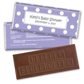 Polka Dot Shower Personalized Embossed Chocolate Bar Assembled