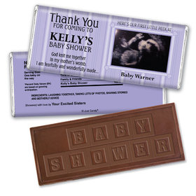 First Peek Personalized Embossed Chocolate Bar Assembled