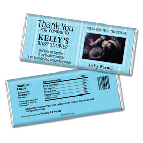 Baby Shower Personalized Chocolate Bar Stripes Sonogram Photo
