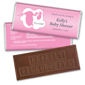 Here Comes the Stork Personalized Embossed Chocolate Bar Assembled