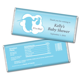 Baby Shower Personalized Chocolate Bar Stork