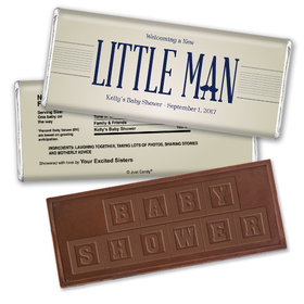 Little Man Personalized Embossed Chocolate Bar Assembled