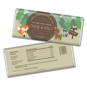 Baby Shower Personalized Chocolate Bar Fox, Deer, Forest Animals