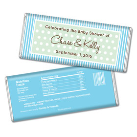 Baby Shower Personalized Chocolate Bar Polka Dot Stripes