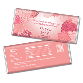 Baby Shower Personalized Chocolate Bar Pink Flowers