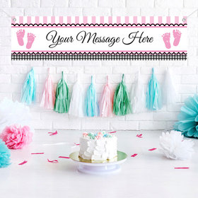 Personalized Sweet Baby Feet Pink 5 Ft. Banner