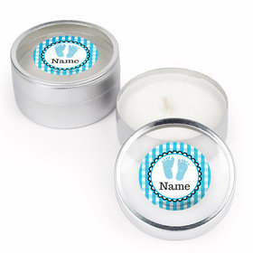 Sweet Baby Feet Blue Personalized Candle (Set of 12)