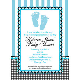 Sweet Baby Feet Blue Personalized Invitation