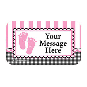 Sweet Baby Feet Pink Personalized Rectangular Stickers (18 Stickers)