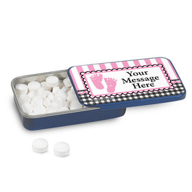 Sweet Baby Feet Pink Personalized Mint Tin (12 Pack)