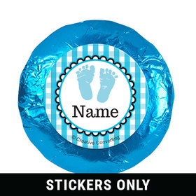 "Sweet Baby Feet Blue Personalized 1.25"" Stickers (48 Stickers)"