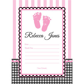 Sweet Baby Feet Pink Personalized Thank You Note