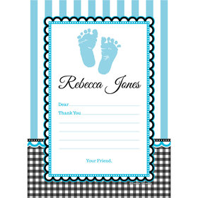 Sweet Baby Feet Blue Personalized Thank You Note