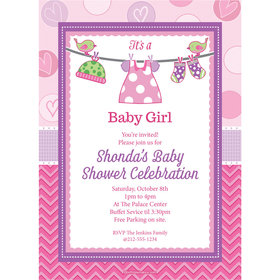 Shower with Love Girl Personalized Invitation