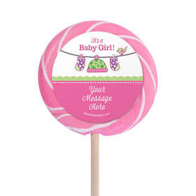 """Shower with Love Girl Personalized 3"""" Lollipops (12 Pack)"""