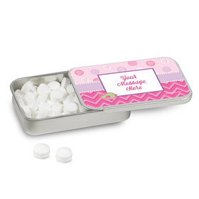 Personalized Shower With Love Girl Baby Shower Mint Tin (12 Pack)