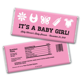 Baby Girl Things Personalized Candy Bar - Wrapper Only