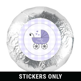 """Baby Shower 1.25"""" Sticker Gingham Carriage (48 Stickers)"""