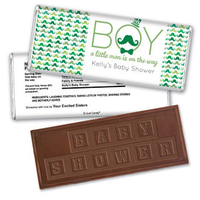 Mustache Bash Personalized Embossed Chocolate Bar Assembled