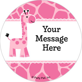 "Sweet Safari Girl Personalized 2"" Stickers (20 Stickers)"