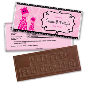 Giraffe Shower Personalized Embossed Chocolate Bar Assembled